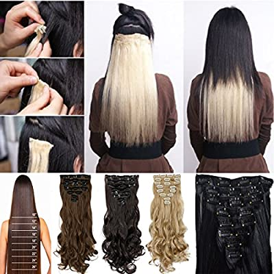 "Onedor 20"" Curly or 24"" Straight Full Head Kanekalon Futura Heat Resistance Hair Extensions Clip on in Hairpieces 7pcs 140g"