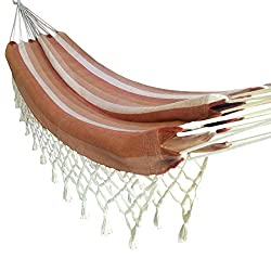 Hangit Mexican Brazilian Cotton Fabric Hammocks swings with Natural Fringes (Deep Brown Combo)