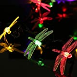 LuckLED Solar Powered LED Christmas Lights, 16ft 20 LEDs Dragonfly String Lights for Outdoor, Gardens, Homes, Wedding, Christmas Party and Halloween Decorations, Waterproof (Multi-Color)