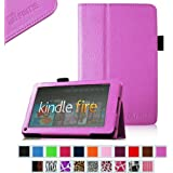 """FINTIE (Violet) Slim Fit Folio Stand Leather Case for Amazon Kindle Fire 7"""" Tablet -10 Color Options (does not fit Kindle Fire HD)"""