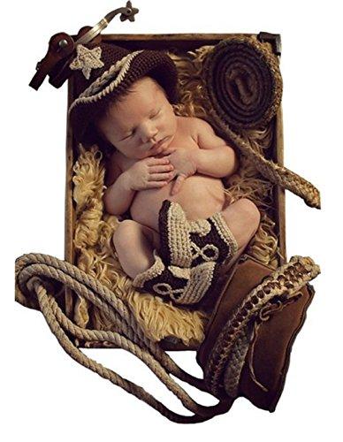 Shinystar Baby Handmade Crochet Knit Cowboy Hat Boots Photography Prop Costume Set (Style 2)
