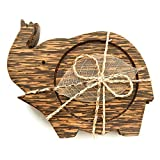 IYARA CRAFT Wooden Coasters for Drinks Tea Cups Saucers,Table topper decoration set (Elephant lift trunk (Palm Wood)) (Color: Elephant lift trunk (Palm wood))