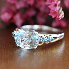 buy 18K Two Tone Gold Blue Topaz Engagement Ring Solitaire Gemstone Ring 3 Stone Ring December Birthstone Wedding Band, Size 7.5 (Resizable)