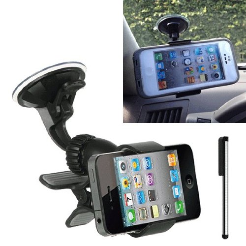 for Samsung galaxy S5 S4 S3 Car Mount Sideways Grip WindShield Cell Phone Car Holder Works With OTTERBOX DEFENDER / COMMUTER / PROTECTIVE cover case on D5+Stylus Pen (By All_Instore) (Samsung S4 Car Windshield Mount compare prices)