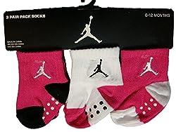 Michael Jordan Jumpman Baby Girls 3pk Socks, Pink, 6-12 Mos