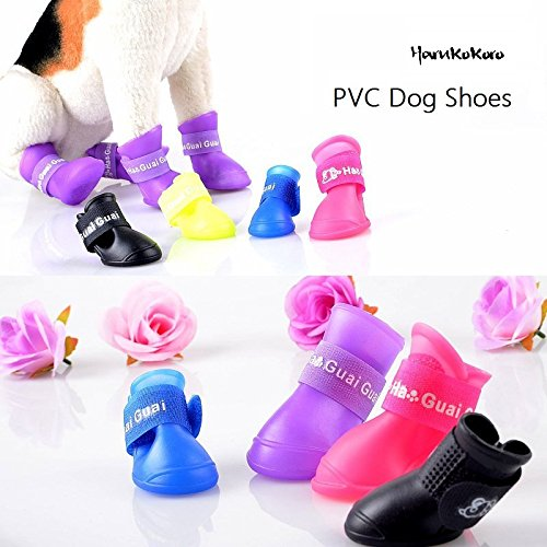 Harukokoro(TM)4PCS New Release Fashion Anti-slip PVC Dog Boots Pet Shoes Eco-Friendly, S, Black