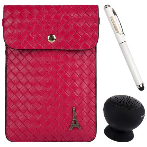 Braided Pu Leather Cell Phone Bag Pouch Case For Sony Xperia Z Ultra / Zr / Z / Zl / Z1 / Z1 Compact / Z1S / Z2 + Stylus Pen + Black Bluetooth Speaker (Magenta Pink)
