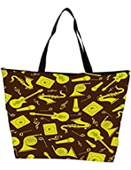 Snoogg Yellow Music Set Designer Waterproof Bag Made Of High Strength Nylon