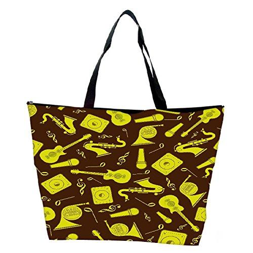 Snoogg Yellow Music Set Designer Waterproof Bag Made Of High Strength Nylon