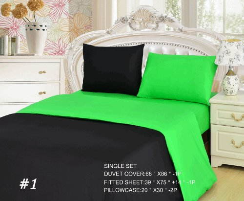 Tache 4 Piece Lime Green Black Duvet Cover Set, Single front-49862