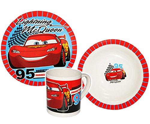 3-tlg-Geschirrset-Disney-Cars-Porzellan-Trinkbecher-Teller-Mslischale-Kindergeschirr-Keramik-Frhstcksset-fr-Kinder-Jungen-Lightning-Mc-Queen-Francesco-Auto-Fahrzeuge-Frhstcksgeschirr-Geschirr