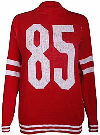 Womens New 85 Printed Baseball Long Sleeve Ladies Knitted Crew Neckline Jumper Stretch Sweater Top Red Size 8 - 10