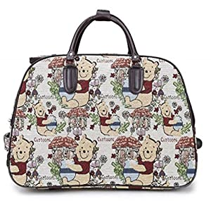 Haute For Diva's Womens Travel Holdall Leopard & Teddy Cartoon Printed Luggage Bag Handle Wheeled Suitcase