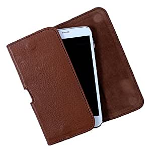 Dooda Genuine Leather Belt Pouch Case For Nokia Lumia 720 (TAN BROWN)