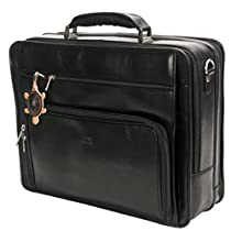 Tony Perotti Mens Italian Cow Leather Double-Pocket Compartment Zip Around Leather Laptop Briefcase
