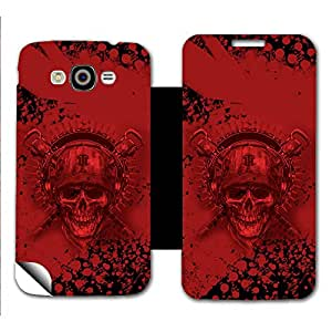 Skintice Designer Flip Cover with a hi-res printed Vinyl Wrap-around for Samsung Galaxy Grand Max, Design - Bloody Skull