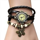 Zeagoo Women's Quartz Butterfly Weave Wrap Synthetic Leather Bracelet Wrist Watch
