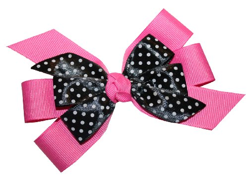 Webb Direct 2U Girls Pink Dotted Grosgrain Hair Bow On French Clip (5171Fc) front-784385