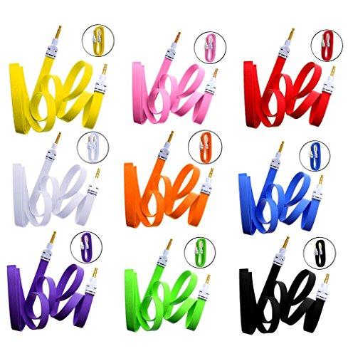 Wayzon AUX zusätzliche flache Lautsprecherkabel mit Stecker, Kabellänge 3,5 mm Klinkenstecker, Stereo, für Prestigio MultiPad 8.0 Note 2, 3 g, Ultra / Pro 10.1 Ultimate Duo, 3540, 3400, 4530, 5400 / 5300 / 5044 / 5000 gelb