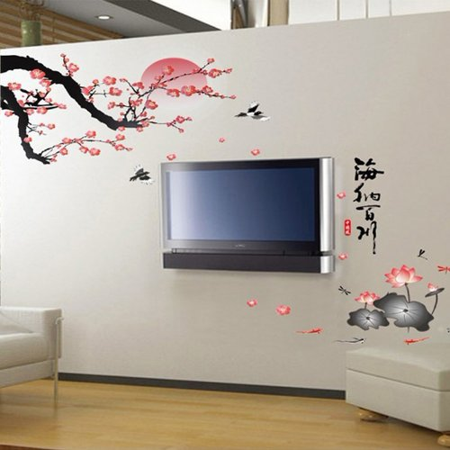 Docooler Plum Blossom Lotus Flowers Removable Wall Art Decals