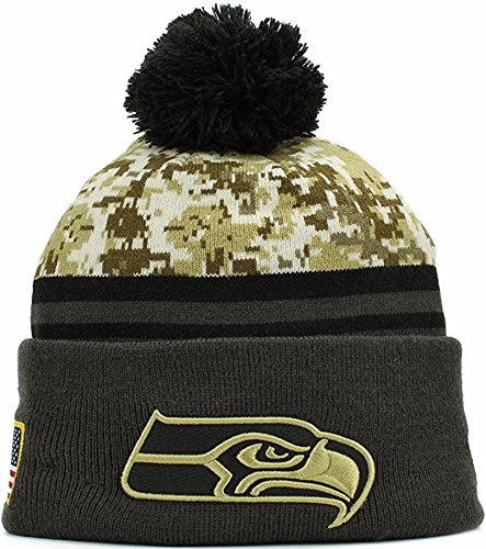 2016 Men's New Era Salute to Service Knit Hat (One Size, Seattle Seahawks) (Seahawks Salute To Service Hat compare prices)