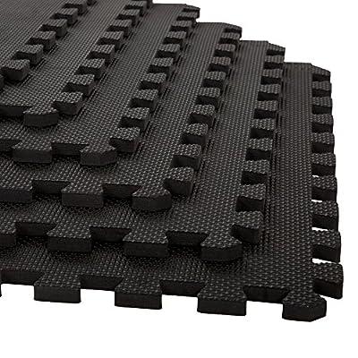 Stalwart 6 Pack Interlocking EVA Foam Floor Mats Black 24x24x0.50