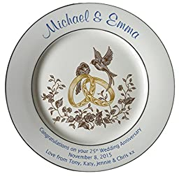 Personalized Bone China Commemorative Plate For A 25th Wedding Anniversary - Rings And Doves Design With A Plain Rim