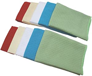 10 Pack Microfiber Waffle Weave Kitchen Towels Dish Drying Towels (Assorted colors, 16x16) by Sinland