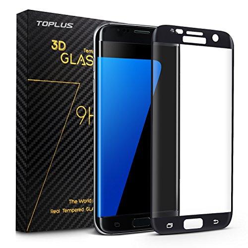 TOPLUS Film de Protection d' Écran 3D Incurvé en Verre Trempé pour Samsung Galaxy S7 Edge (Noir)