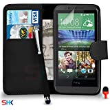 HTC Desire 510 Premium Leather Black Wallet Flip Case Cover Pouch + Big Touch Stylus Pen + Screen Protector & Polishing Cloth SVL2 BY SHUKAN®, (WALLET BLACK)