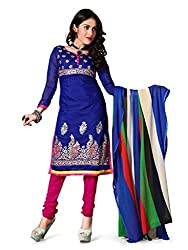 Reveka Jasmine Blue Chanderi Unstitched Straight Salwar Suit Dress Material