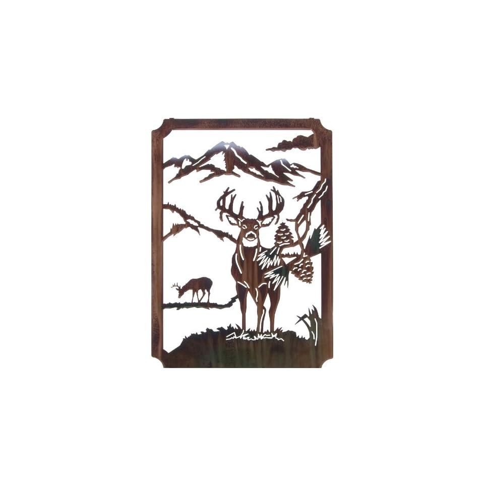 22 Lazart Metal Wall Art Wall Decor   Mountain Bucks (Framed)