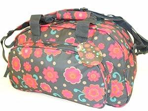 "17"" Ladies Girls Grey Flower Hand Luggage Cabin Flight overnight weekend Bag Sports Gym Holdall"