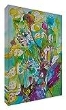 Feel Good Art Lienzo con los colores vivos abstracto parte del artista Val Johnson flores silvestres, 40 x 30 x 4 cm, mediano
