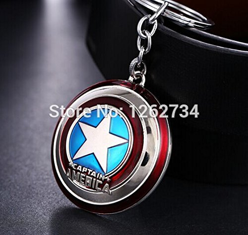 (Silver) The Avengers Super Hero Captain America Shield Action Figure Keychain Keyring Doll