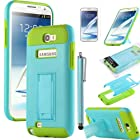 Note 2 Case, ULAK Hybrid High IMPACT Stand Case For Samsung Galaxy Note 2 N7100 with Screen Protector and Touch Stylus (Light Blue+Green)