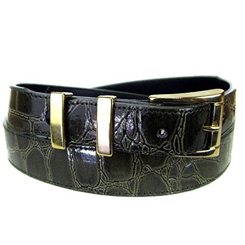Blt-A-103-36 - Dark Olive Alligator Skin Bonded Leather Belt