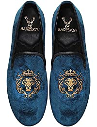 Bareskin Mens Handmade Blue Velvet Slipon With Lion-King Embroidery/Limited Edition/Extra Comfortable/Durable/Slip Resistant/Designer Loafers/Quick Delivery