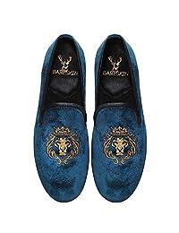 Bareskin Lion King Special Mens Handmade Blue Velvet Slipon With Embroidery - Limited Edition