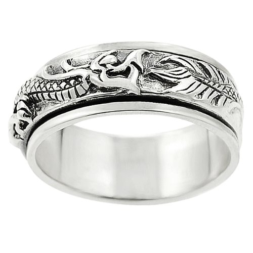 Sterling Silver Men's Dragon Spinner Ring