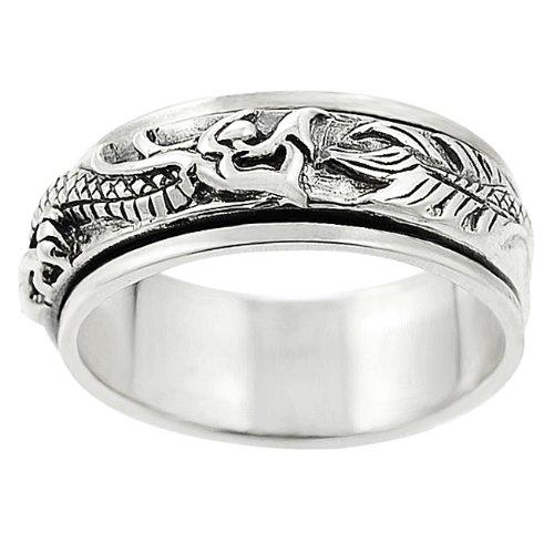 Sterling Silver Men's Dragon Spinner Ring