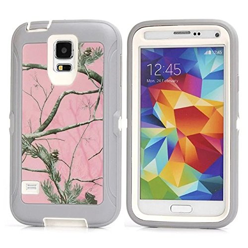 For Samsung Galaxy S5 Case - FiversTM Heavy Duty Case 3 in 1 Three Advantages Waterproof Dustproof Shakeproof with Forest Camouflage Desig Cell Phone Cases for Samsung Galaxy S5 Tree- Pink