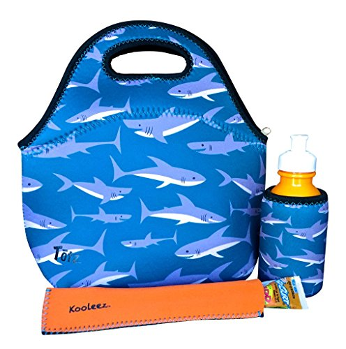 Koverz - 3 Piece Lunch Tote Set w/Freezer Pop Sleeve - CHOOSE FROM 10 STYLES! - Sharks (Lunch Box Insulator compare prices)