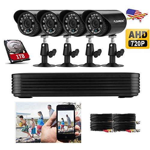 Read About Floureon 960H 4CH AHD 720P Video Security System DVR with 4 Outdoor 700TVL Weatherproof I...