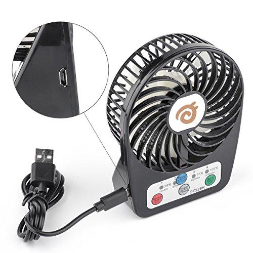 D-FantiX 3-inch Mini Portable Fan 4 Speeds Rechargeable USB Desktop Fan Personal Fan Small Handheld Fan Battery Operated / USB Powered for Travel, Home and Office (Black)