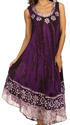 Sakkas 15009 - Alexis Embroidered Long Sleeveless Floral Caftan Dress / Cover Up - Plum - OS