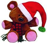 TY Beanie Buddy - POOKY the Stuffed Animal Bear ( Christmas Hat Version )