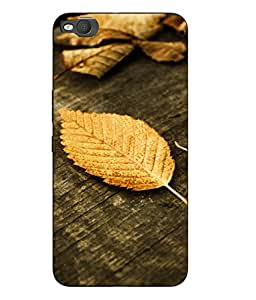 Case Cover Leaf Printed Yellow Hard Back Cover For HTC One X9 Smartphon