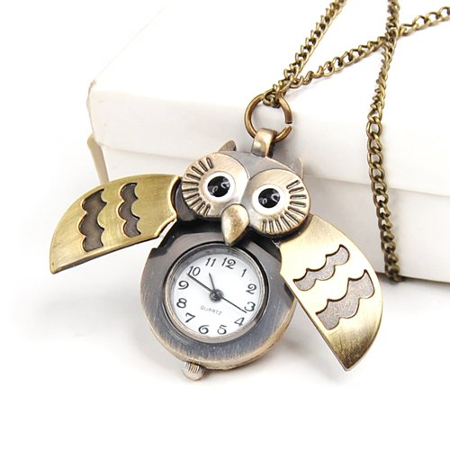 Cute Antique Owl Pocket Watch Pendant Necklace