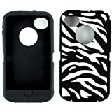 Replacement TPU Skin for iphone 4 4S Otterbox Defender case with Oval cutout (Zebra Black)